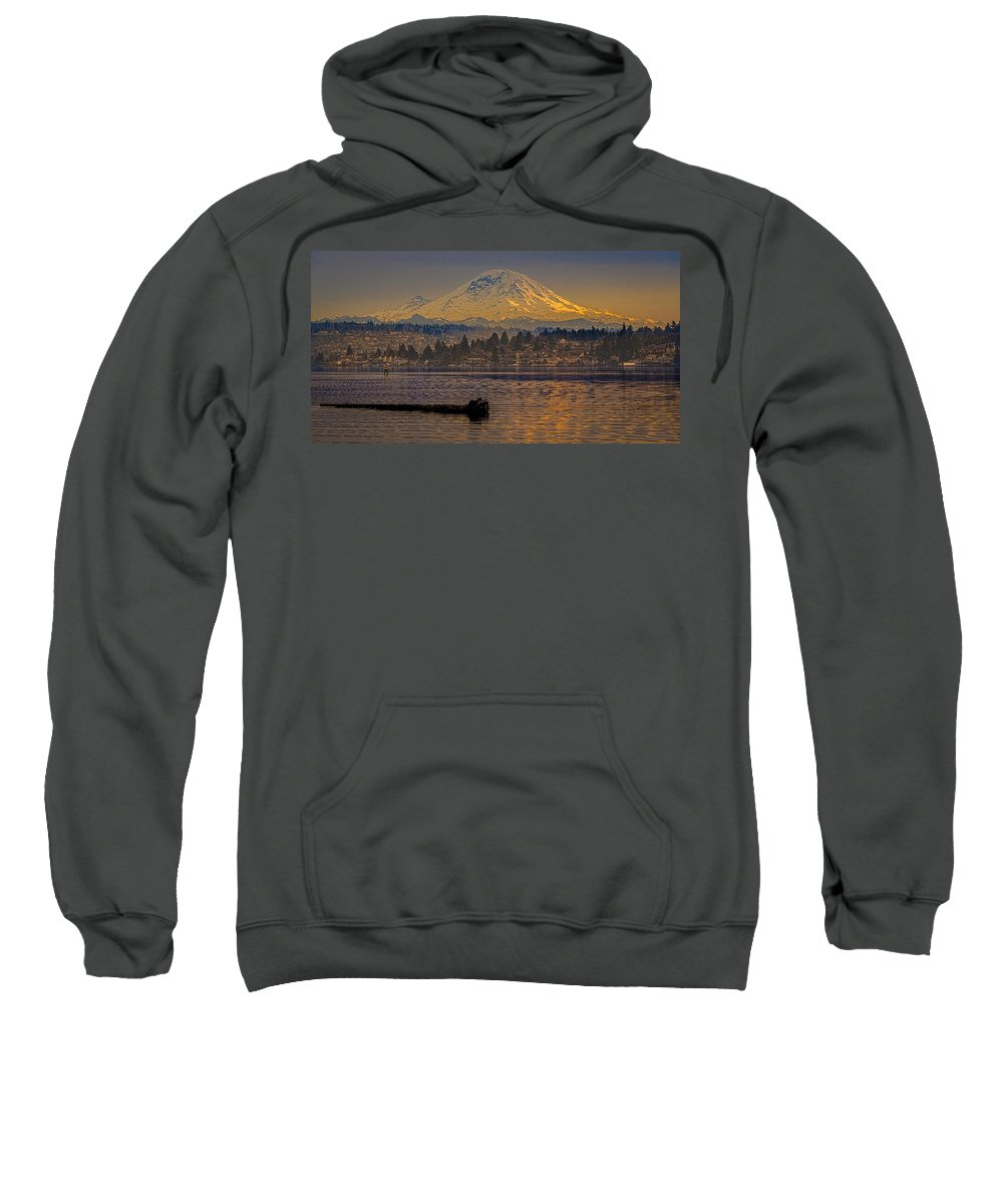 Mount Rainier Sweatshirt featuring the painting Mount Rainier by Mike Penney