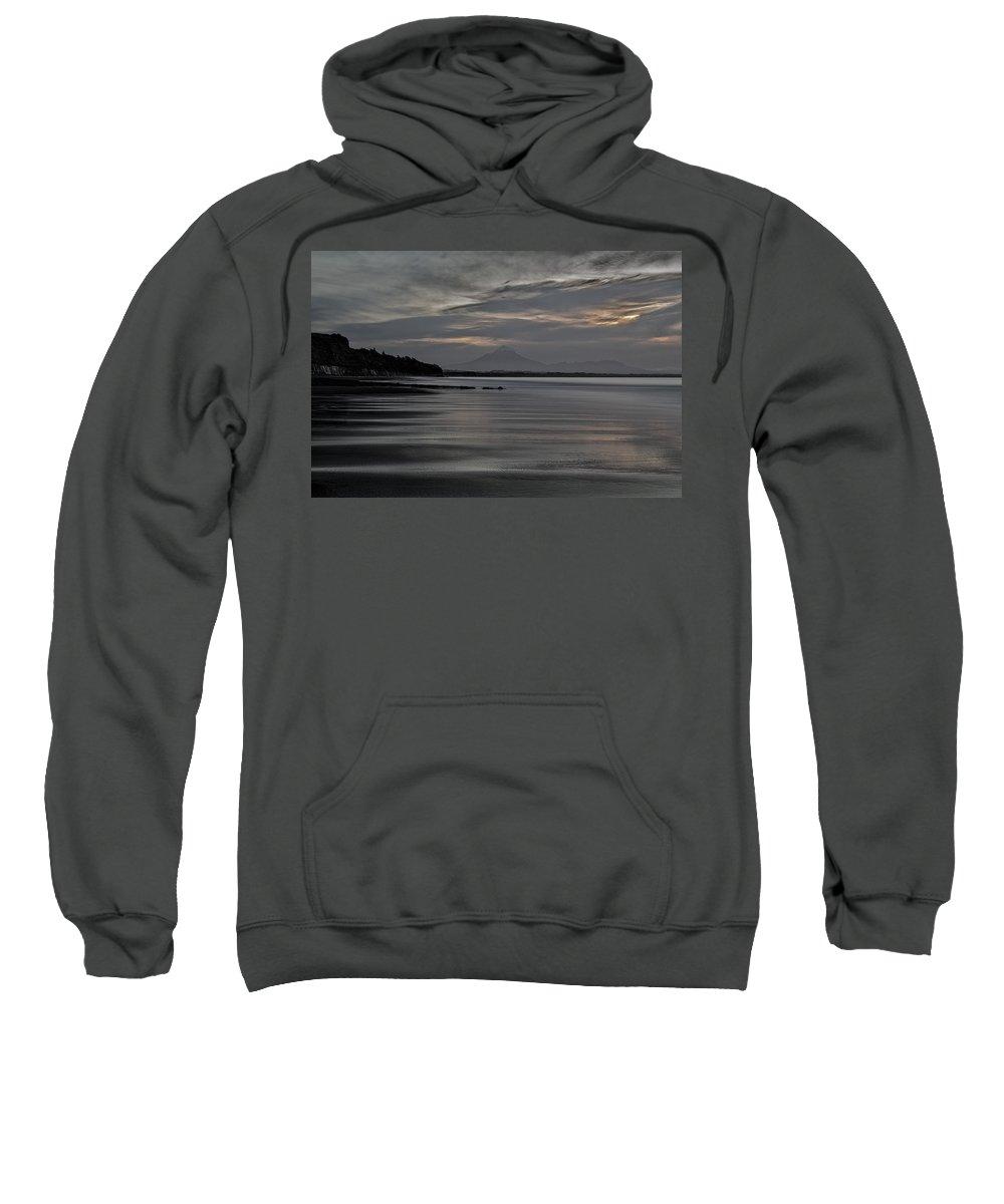 Ocean Sweatshirt featuring the photograph Mount Taranaki At Low Tide by Russ Dixon