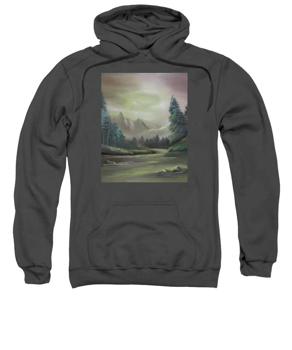 Mountain Sweatshirt featuring the painting Mountain River by Dawn Nickel