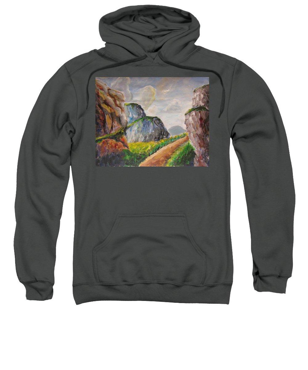 Mountains Sweatshirt featuring the painting Mountains Landscape by Svetlana Rudakovskaya