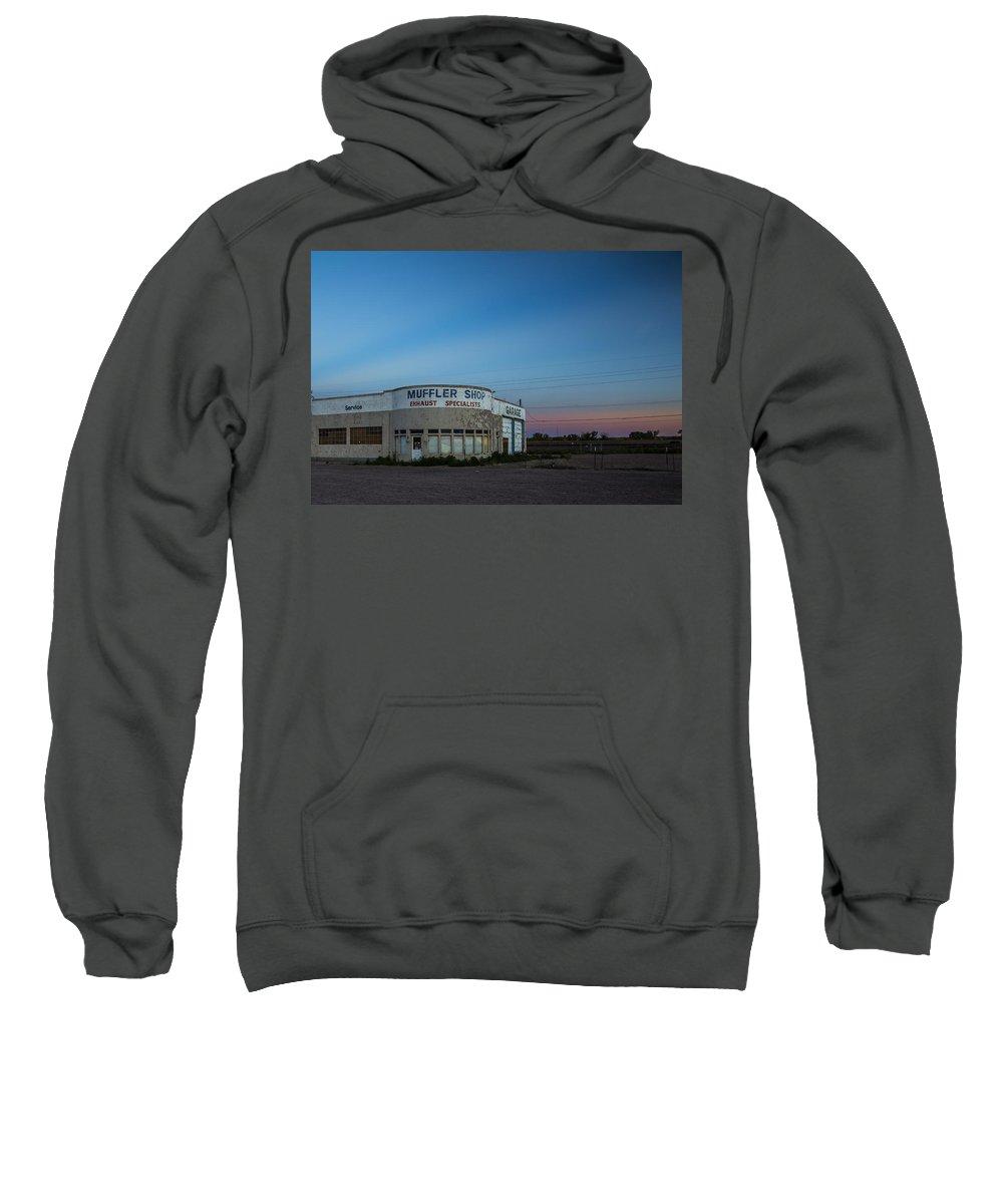 Route 66 Sweatshirt featuring the photograph Muffler Shop by Angus Hooper Iii