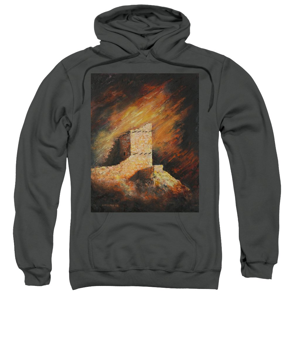 Anasazi Sweatshirt featuring the painting Mummy Cave Ruins 2 by Jerry McElroy