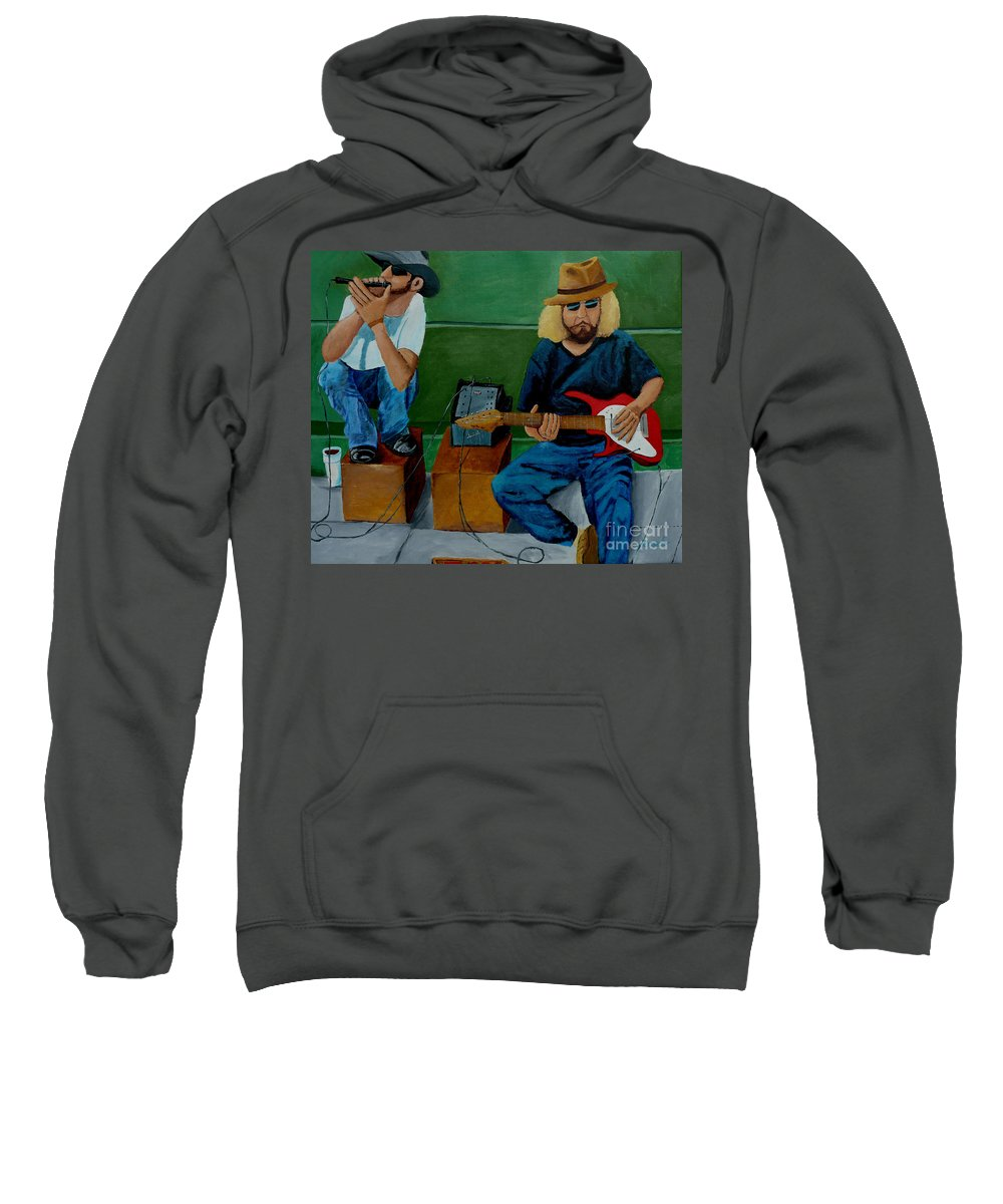Street Sweatshirt featuring the painting Music Of The Street by Anthony Dunphy
