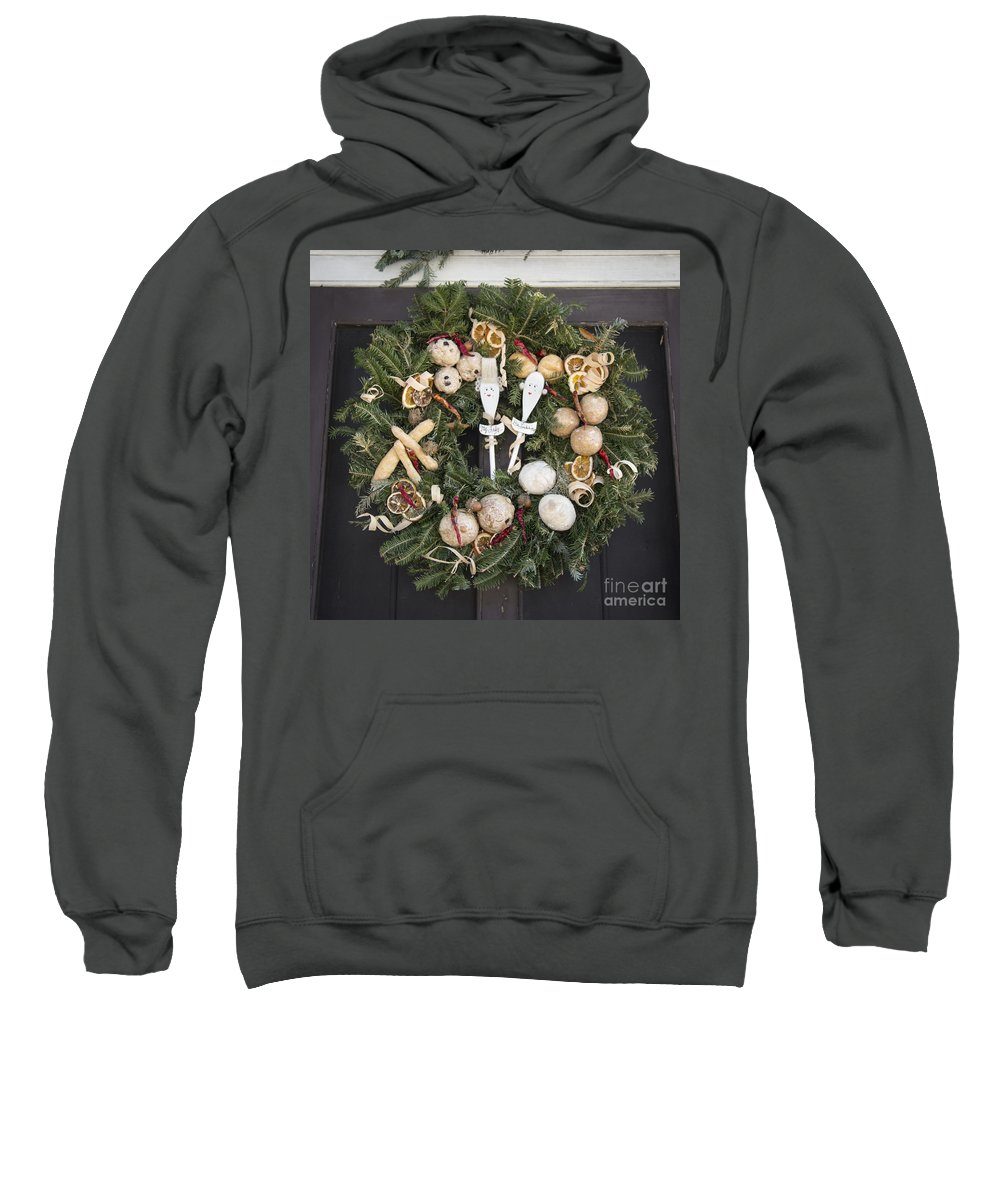 Colonial Sweatshirt featuring the photograph My Lady And His Lordship Wreath by Teresa Mucha