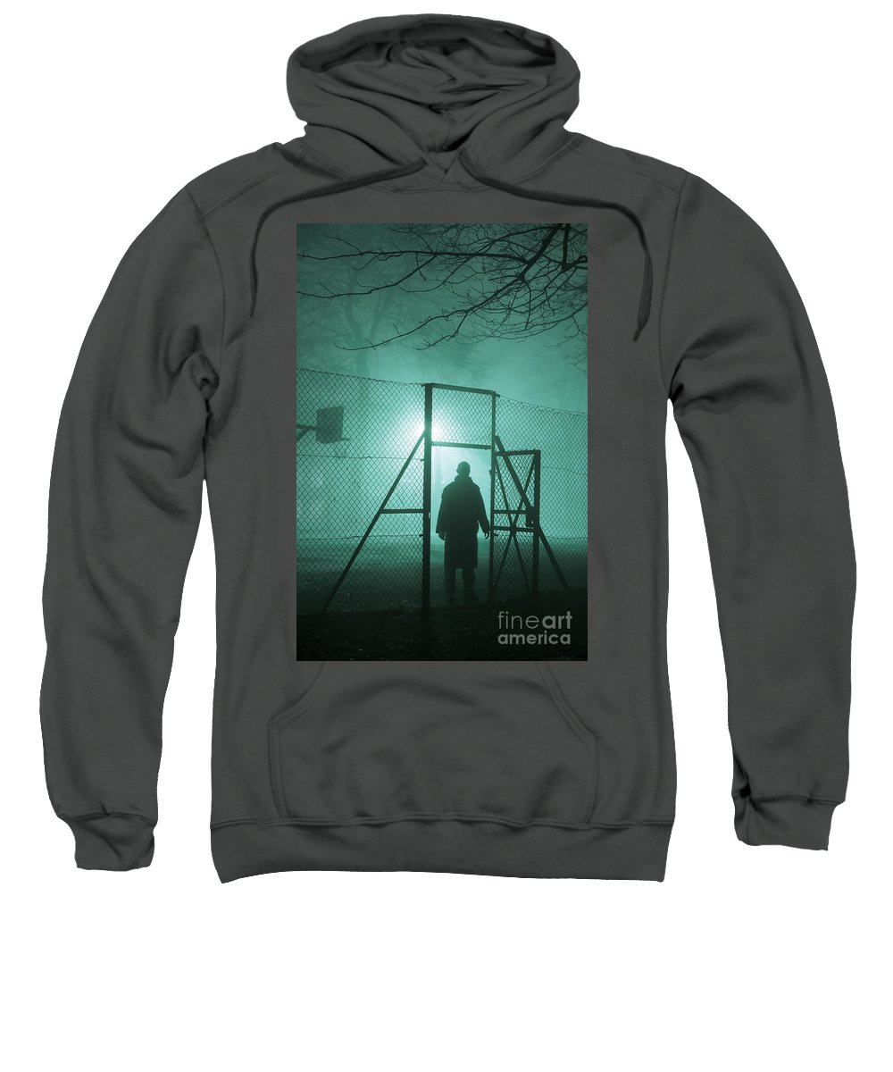 Man Sweatshirt featuring the photograph Mysterious Man At Night by Lee Avison