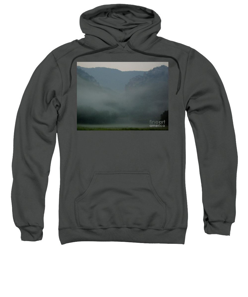 Appalachian Mountain Mist West Virginia Mountain Morning Fog Mystic Mountains Seneca Rocks Range Wilderness Landscapes Natural Landscapes Wild Places Mountain Forest Fog Misty Wall Art Tranquil Images Peaceful Prints Wall Art In Nature Natural Design Super Natural Landscapes Ominous Appalachian Mountain Holler Mountain Cove Morning Mist Fogscapes Foggy Landscapes Sweatshirt featuring the photograph Mystic Mountains by Joshua Bales