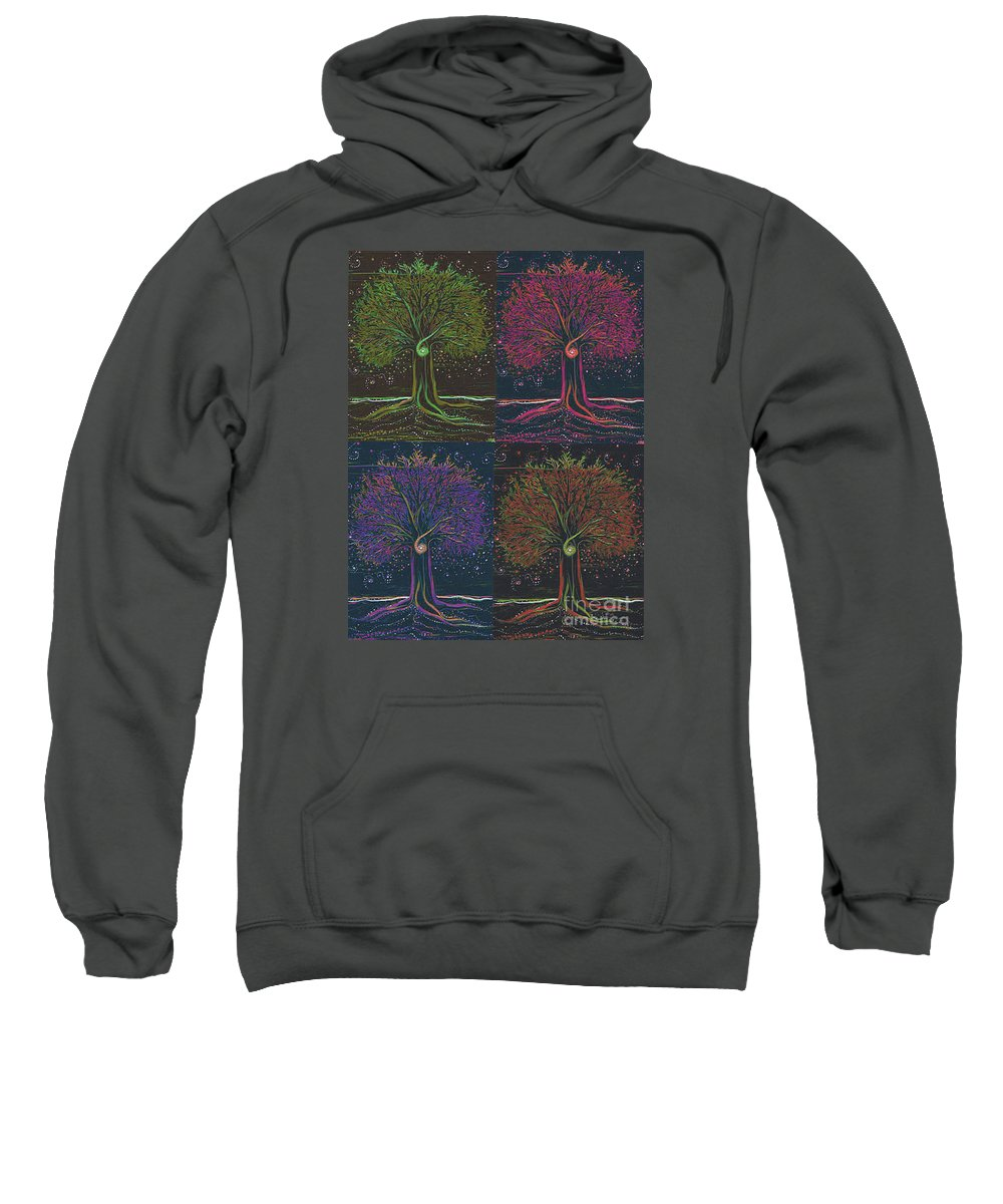 First Star Sweatshirt featuring the painting Mystic Spiral Tree X 4 By Jrr by First Star Art