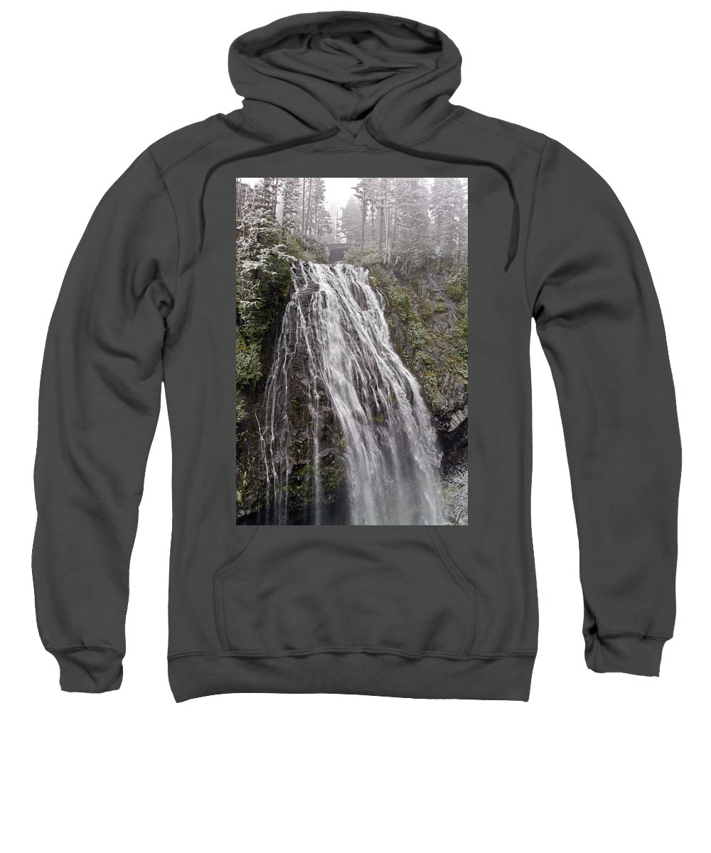 Narada Falls Sweatshirt featuring the photograph Narada Falls Mt Rainier by Greg Reed