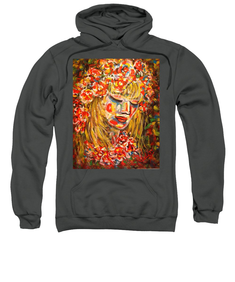 Girl Sweatshirt featuring the painting Nature Girl by Natalie Holland