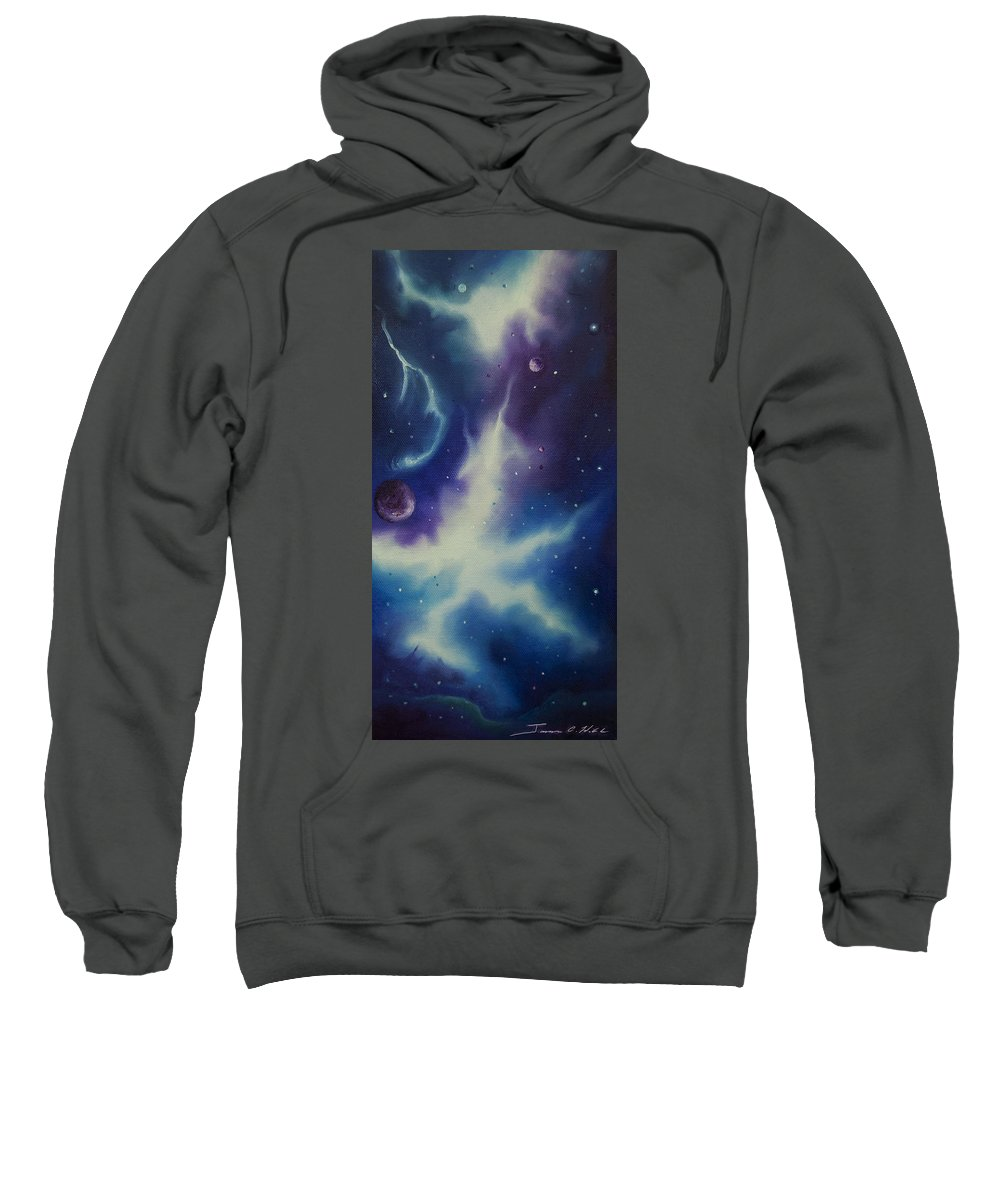 Purple; Red; Blue; Stunning; Landscape; James C. Hill; Copyright 2014 - James Christopher Hill; Jameshillgallery.com; Sci-fi; Science Fiction; Spheres; Power; Light; Ball; Motion; Concept Art; Concept Sketch; Nebula; Astronomy; Space; Gas; Planet; Star Sweatshirt featuring the painting Nebulae Ngc -1014 by James Christopher Hill