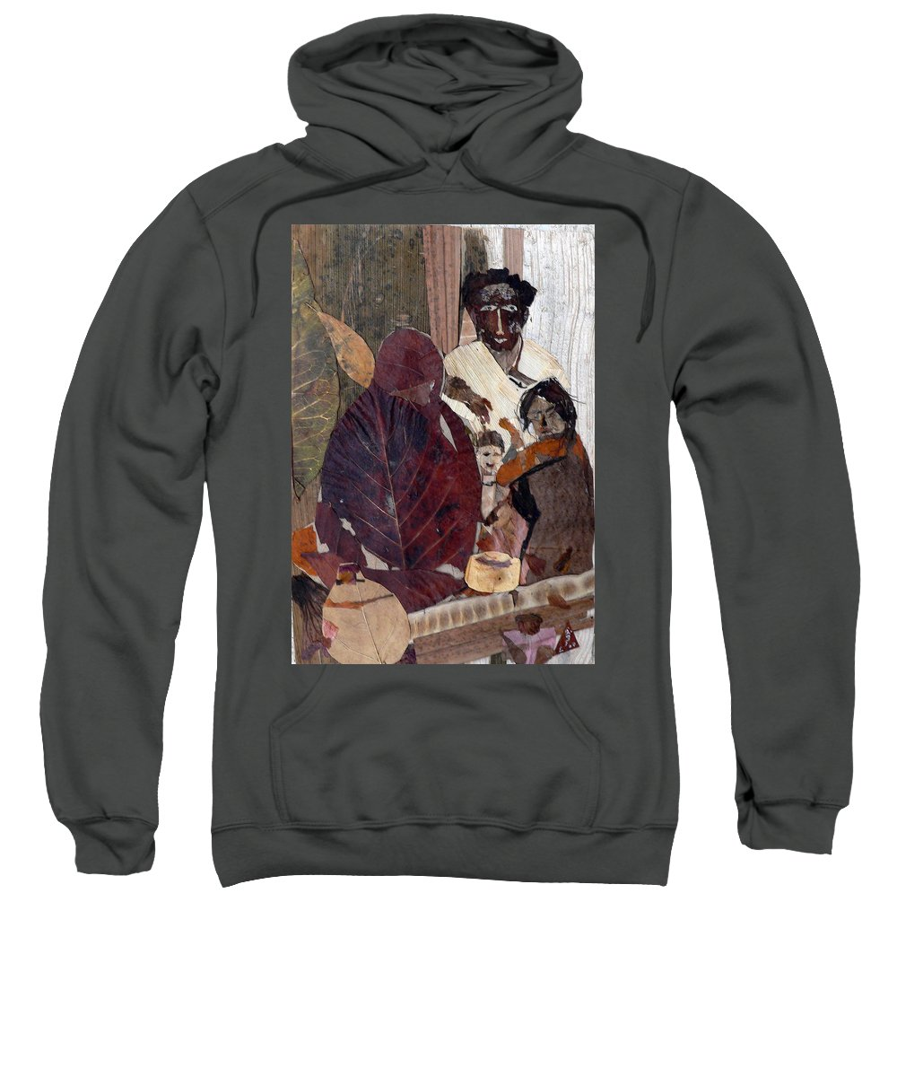 Group Portrait Sweatshirt featuring the mixed media Needy Family by Basant Soni