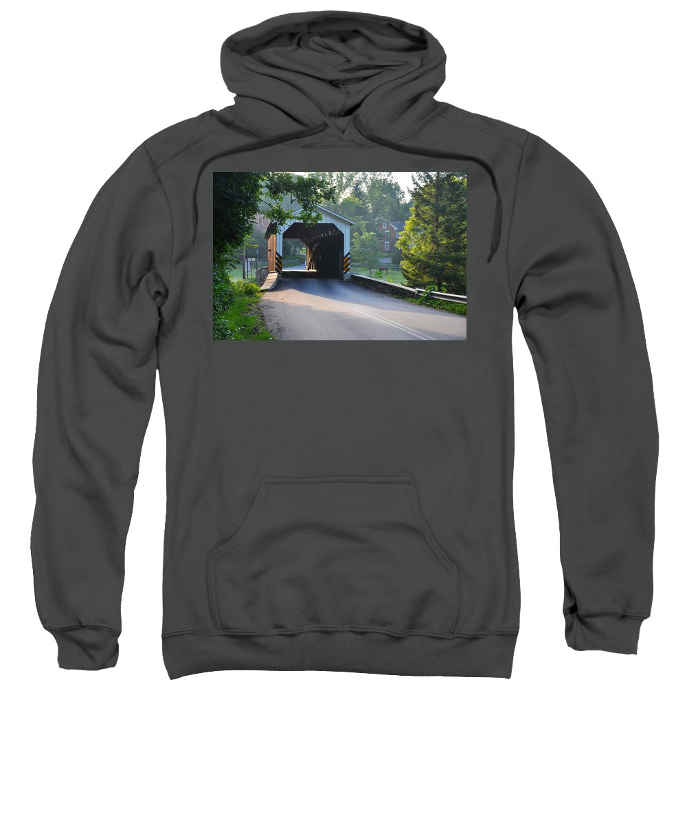 Neff's Sweatshirt featuring the photograph Neff's Mill Covered Bridge Lancaster County by Bill Cannon