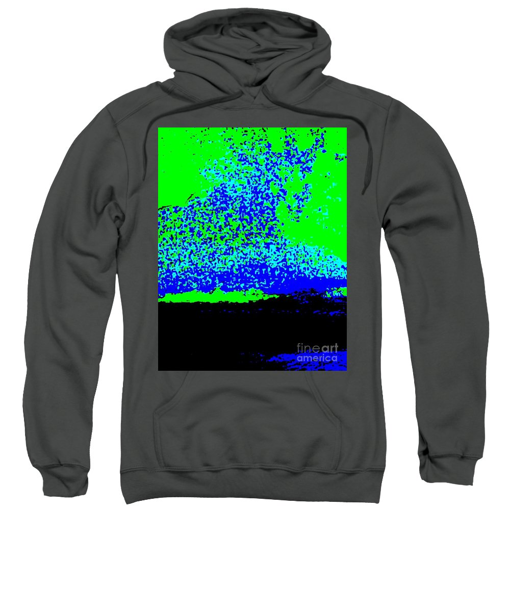 Neon Sweatshirt featuring the photograph Neon Blue Green Abstract by Eric Schiabor