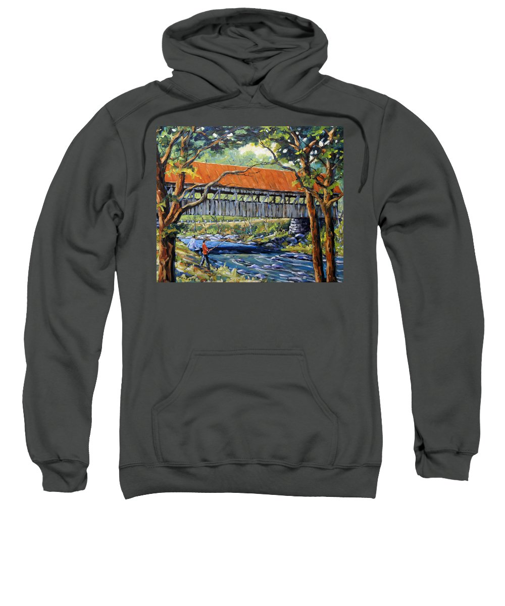 Landscape Sweatshirt featuring the painting New England Covered Bridge By Prankearts by Richard T Pranke