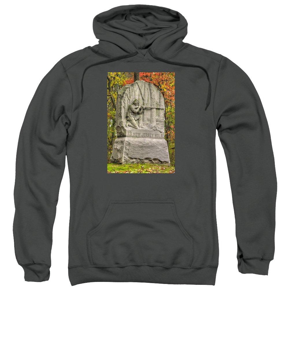 Civil War Sweatshirt featuring the photograph New Jersey At Gettysburg - 13th Nj Volunteer Infantry Near Culps Hill Autumn by Michael Mazaika