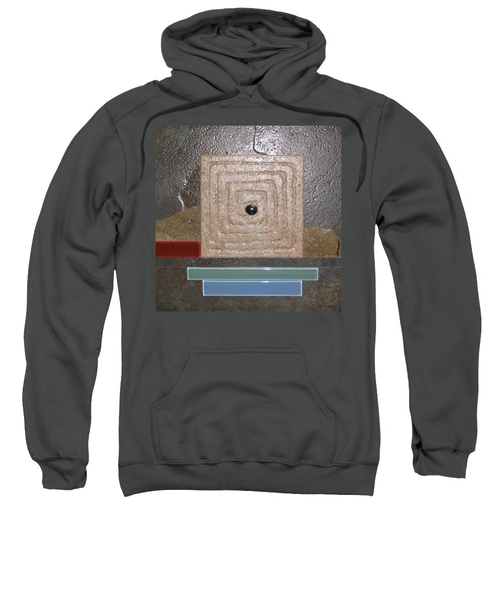 Assemblage Sweatshirt featuring the relief New Moon by Elaine Booth-Kallweit