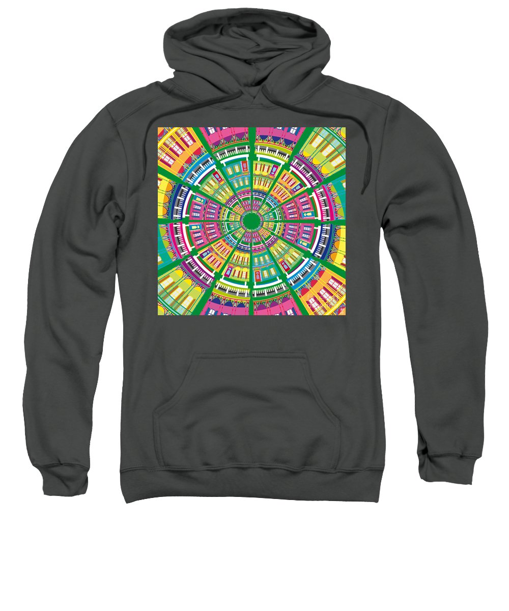 Autumn Sweatshirt featuring the painting New Orleans House Roundel by Neil Finnemore