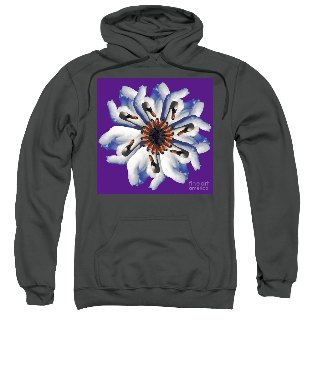Purple Sweatshirt featuring the photograph New Photographic Art Print For Sale Pop Art Swan Flower On Purple by Toula Mavridou-Messer