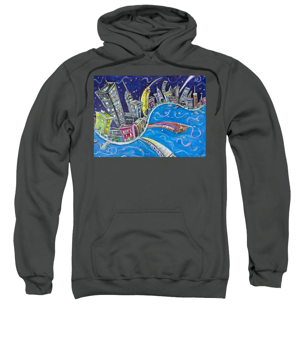 New York City Sweatshirt featuring the painting New York City Nights by Jason Gluskin