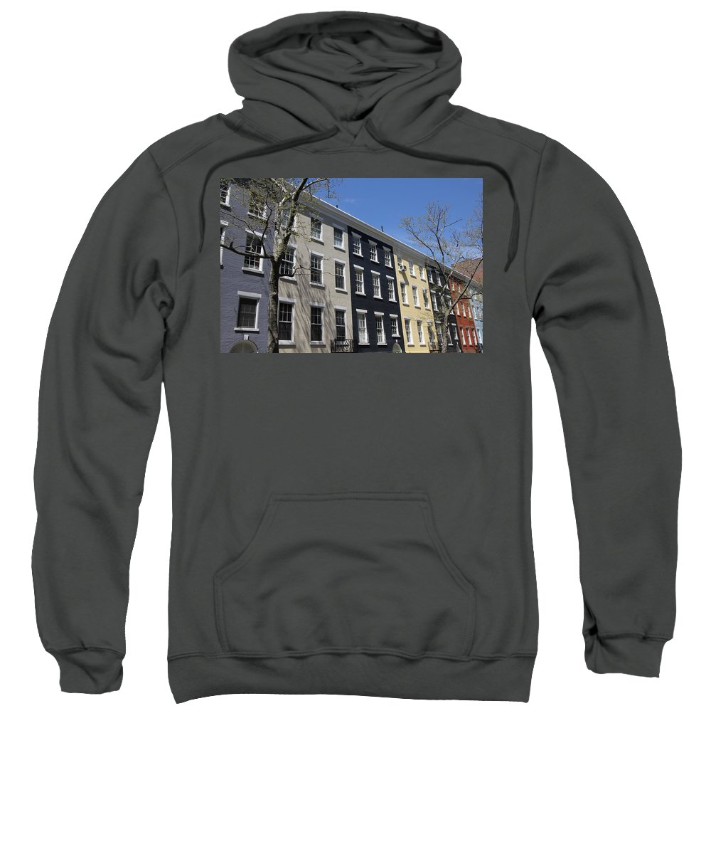 Rainbow Row Sweatshirt featuring the photograph New York City Rainbow Row by Allen Beatty