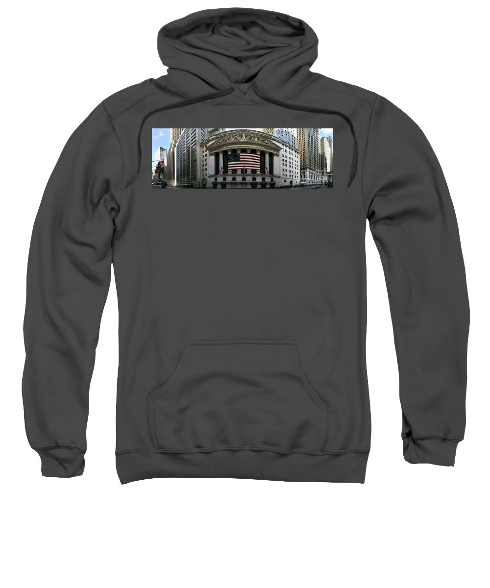 Wall Street Sweatshirt featuring the photograph New York - Wall Street Panoramic by Randy Smith