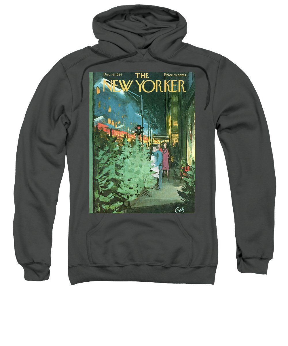 Christmas Sweatshirt featuring the painting New Yorker December 14th, 1963 by Arthur Getz