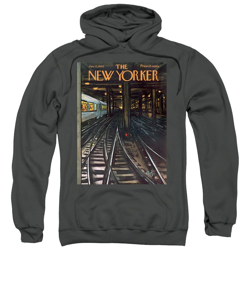 Train Sweatshirt featuring the painting New Yorker January 12th, 1963 by Arthur Getz
