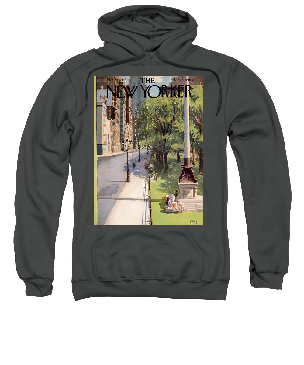Arthur Getz Agt Sweatshirt featuring the painting New Yorker May 31st, 1958 by Arthur Getz