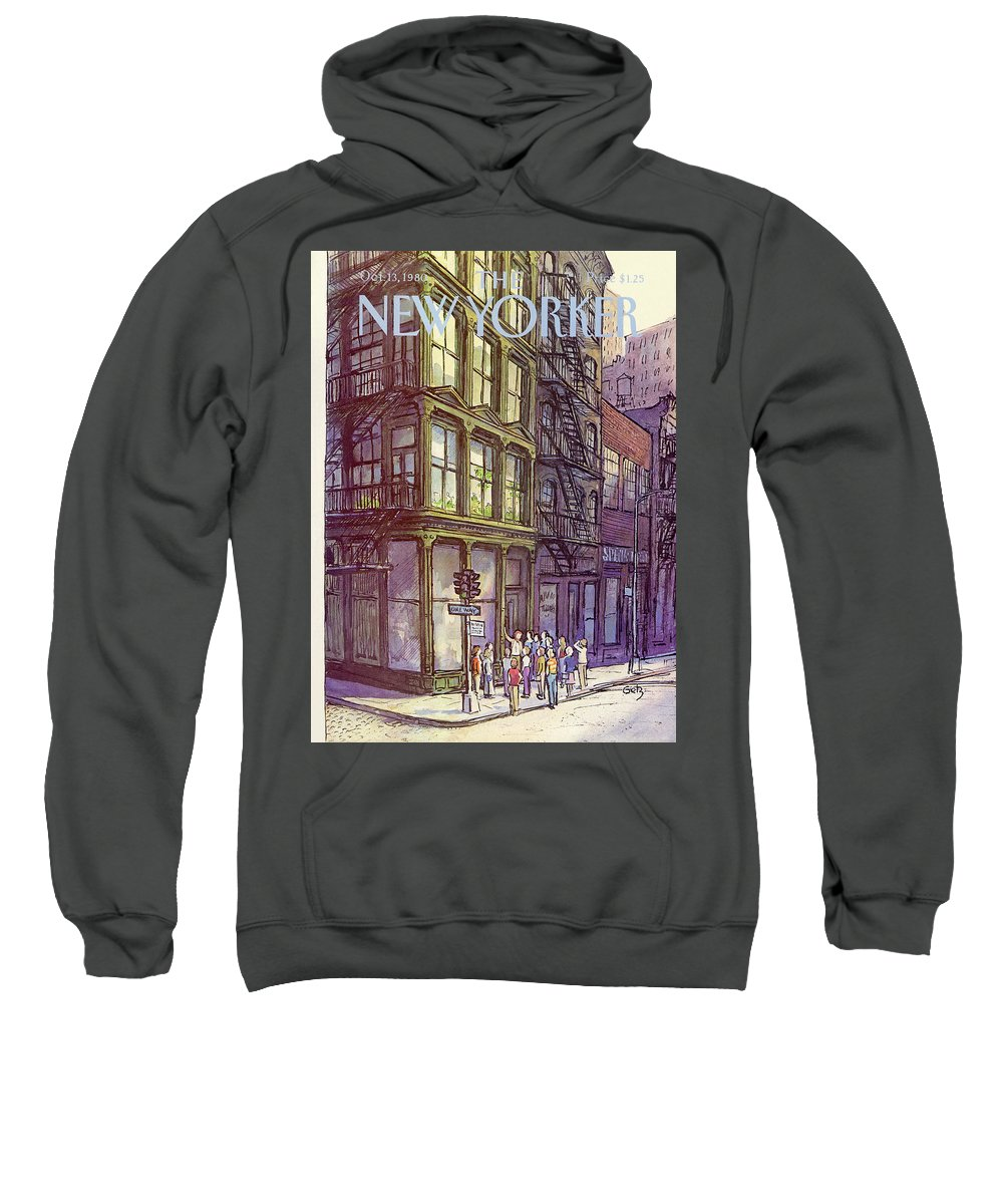 Architecture Sweatshirt featuring the painting New Yorker October 13th, 1980 by Arthur Getz