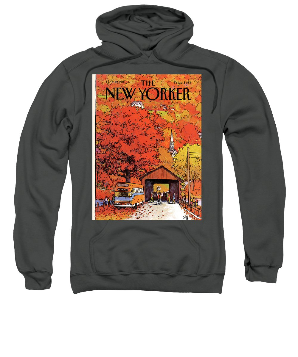Season Sweatshirt featuring the painting New Yorker October 19th, 1981 by Arthur Getz