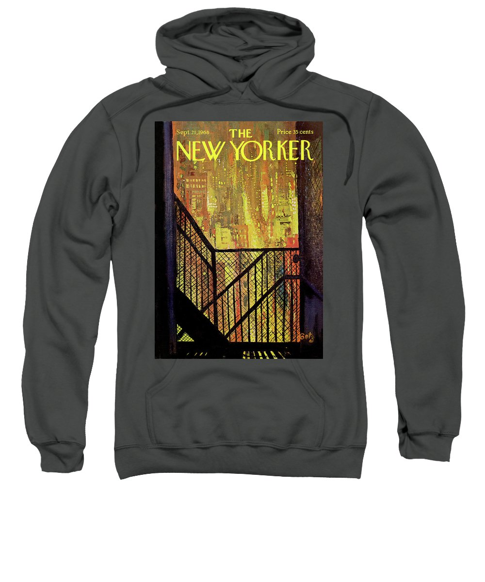 Arthur Getz Agt Sweatshirt featuring the painting New Yorker September 21st, 1968 by Arthur Getz