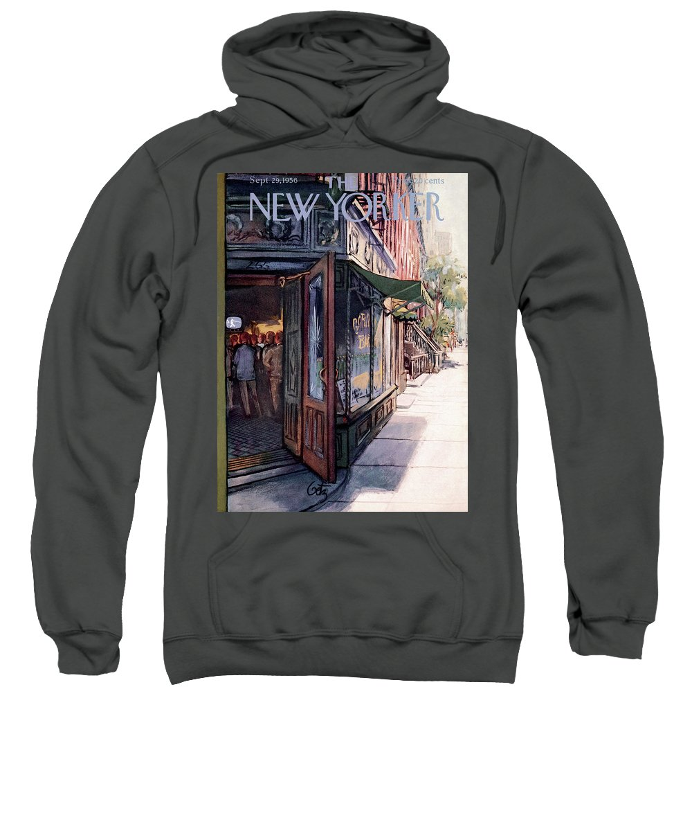 Suburb Country Outdoors Community Town Small Suburban Quaint Village Sweatshirt featuring the painting New Yorker September 29th, 1956 by Arthur Getz