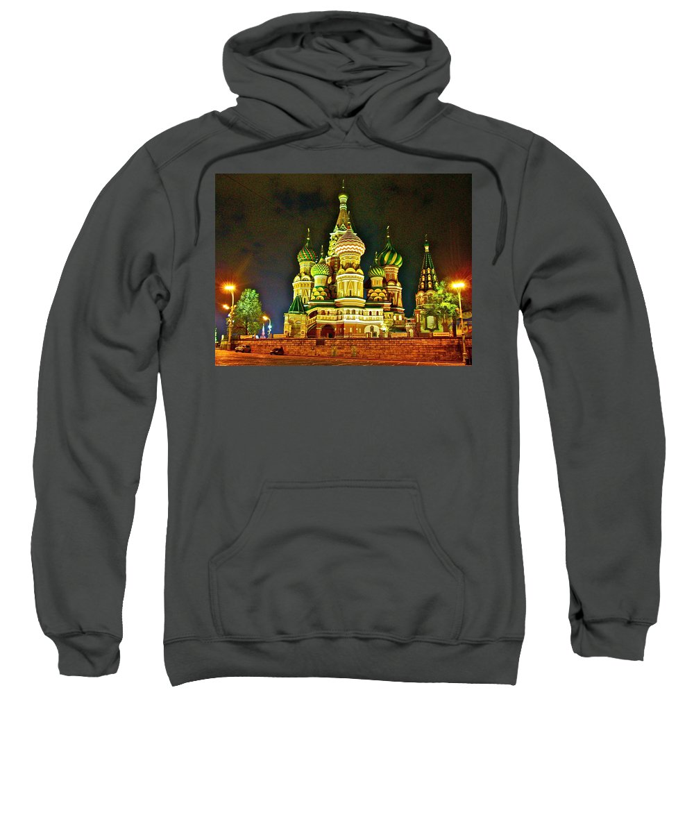Night View Of Saint Basil Cathedral In Red Square In Moscow Sweatshirt featuring the photograph Night View Of Saint Basil Cathedral In Red Square In Moscow-russia by Ruth Hager