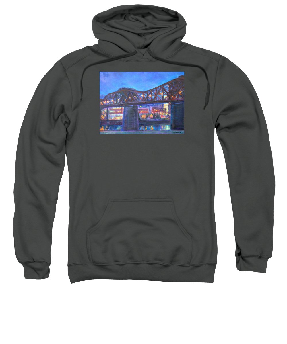 Sky Sweatshirt featuring the painting City At Night Downtown Evening Scene Original Contemporary Painting For Sale by Quin Sweetman