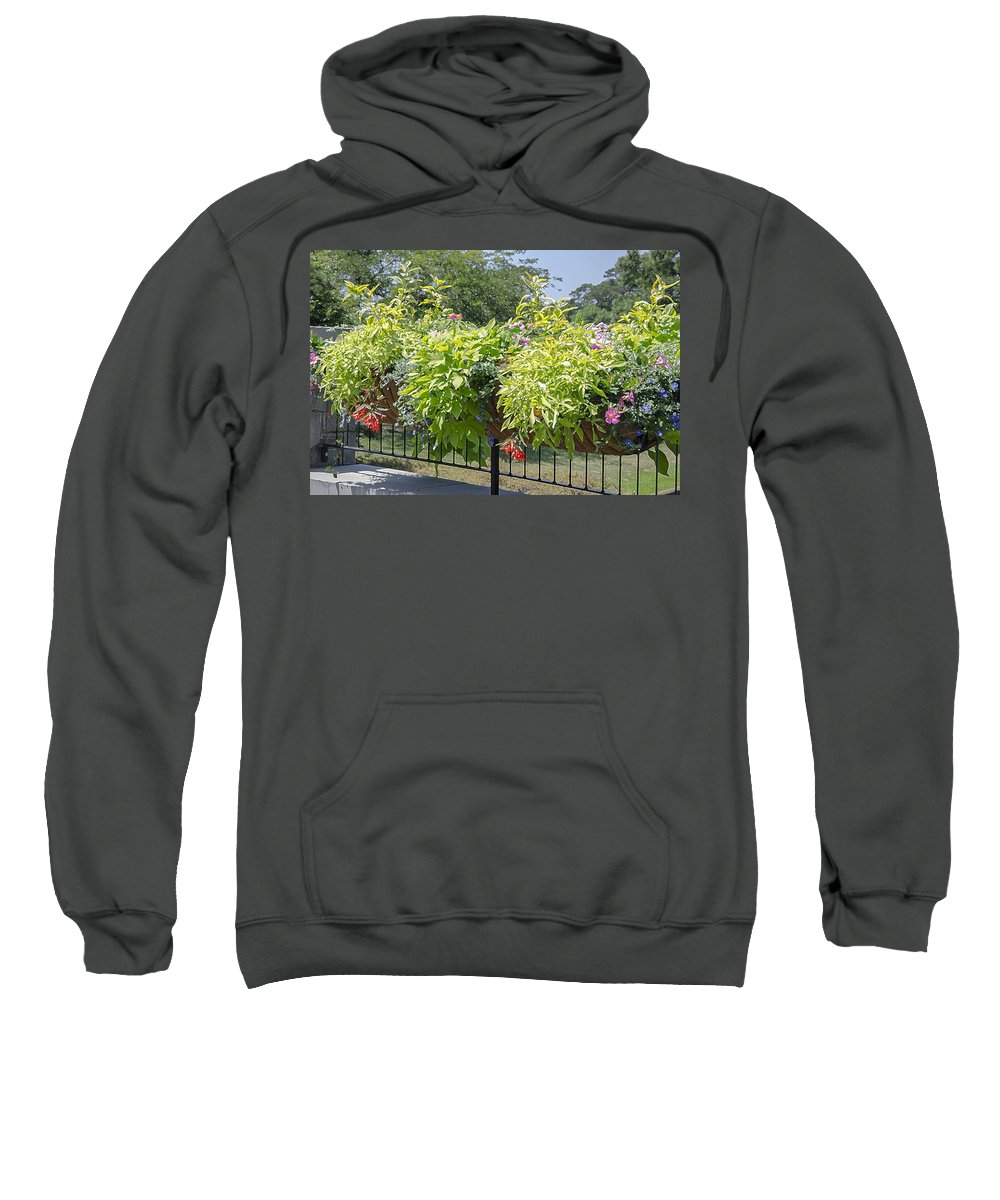 Favorite Spot In The Gardens Sweatshirt featuring the painting Norfolk Botanical Garden 8 by Jeelan Clark