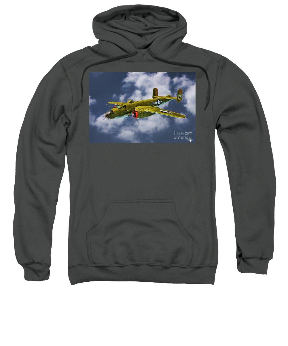 North American B-25j Sweatshirt featuring the digital art North American B-25j by Tommy Anderson