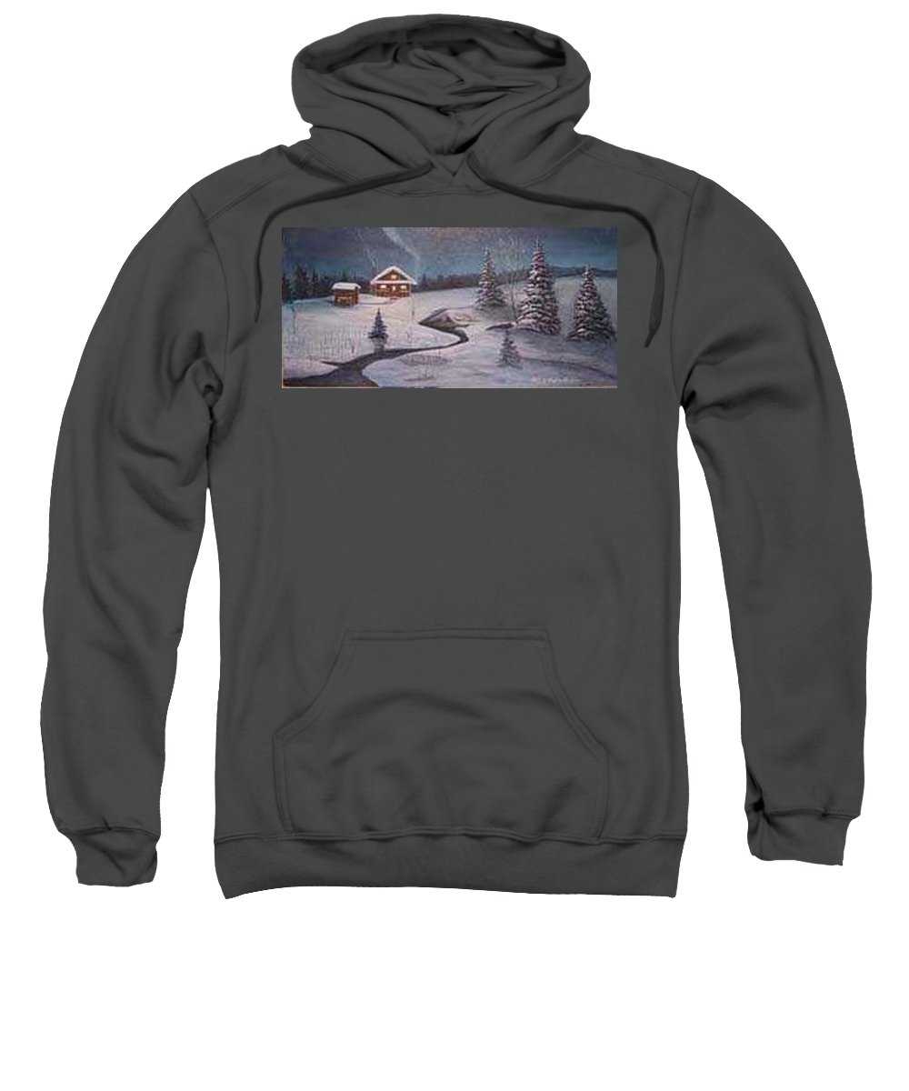 Rick Huotari Sweatshirt featuring the painting North Woods Cabin by Rick Huotari