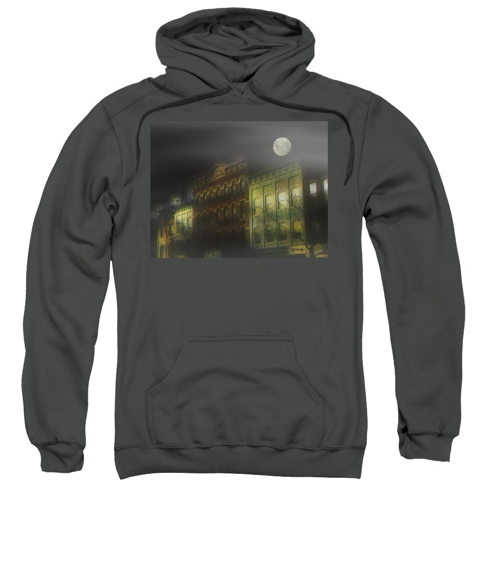 Cityscape Sweatshirt featuring the painting Northampton By Moonlight by RC deWinter