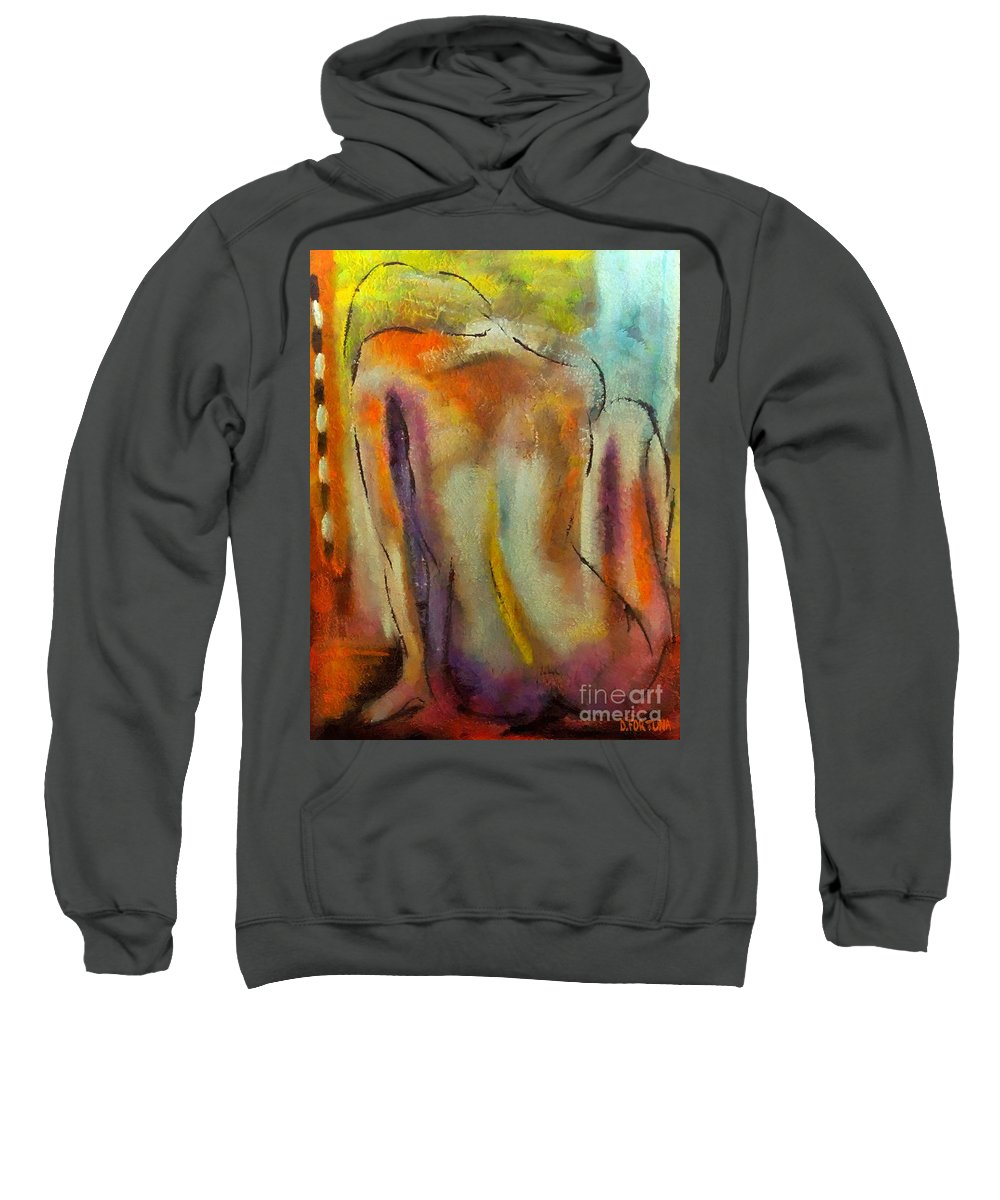 Mixed Media Sweatshirt featuring the mixed media Nude IIi by Dragica Micki Fortuna