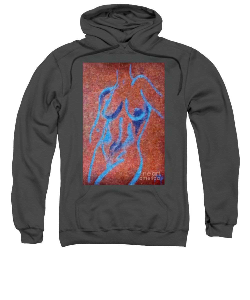 Nude Sweatshirt featuring the drawing Nude V by Dragica Micki Fortuna