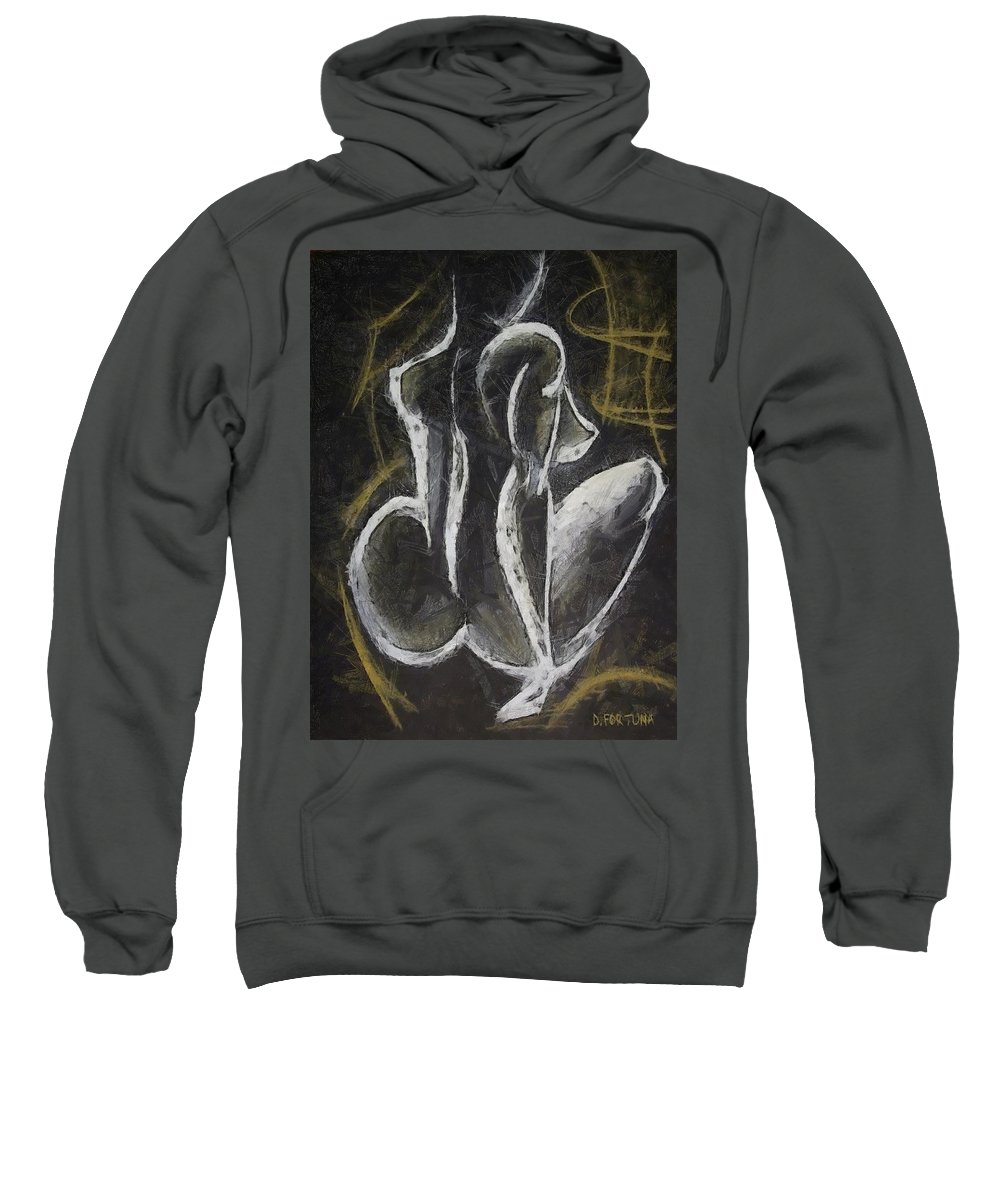 Female Nude Sweatshirt featuring the drawing Nude Vii by Dragica Micki Fortuna