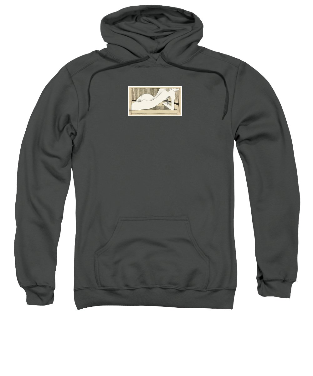 Woman Sweatshirt featuring the drawing Nude With Broken Wrist by Ch' Brown