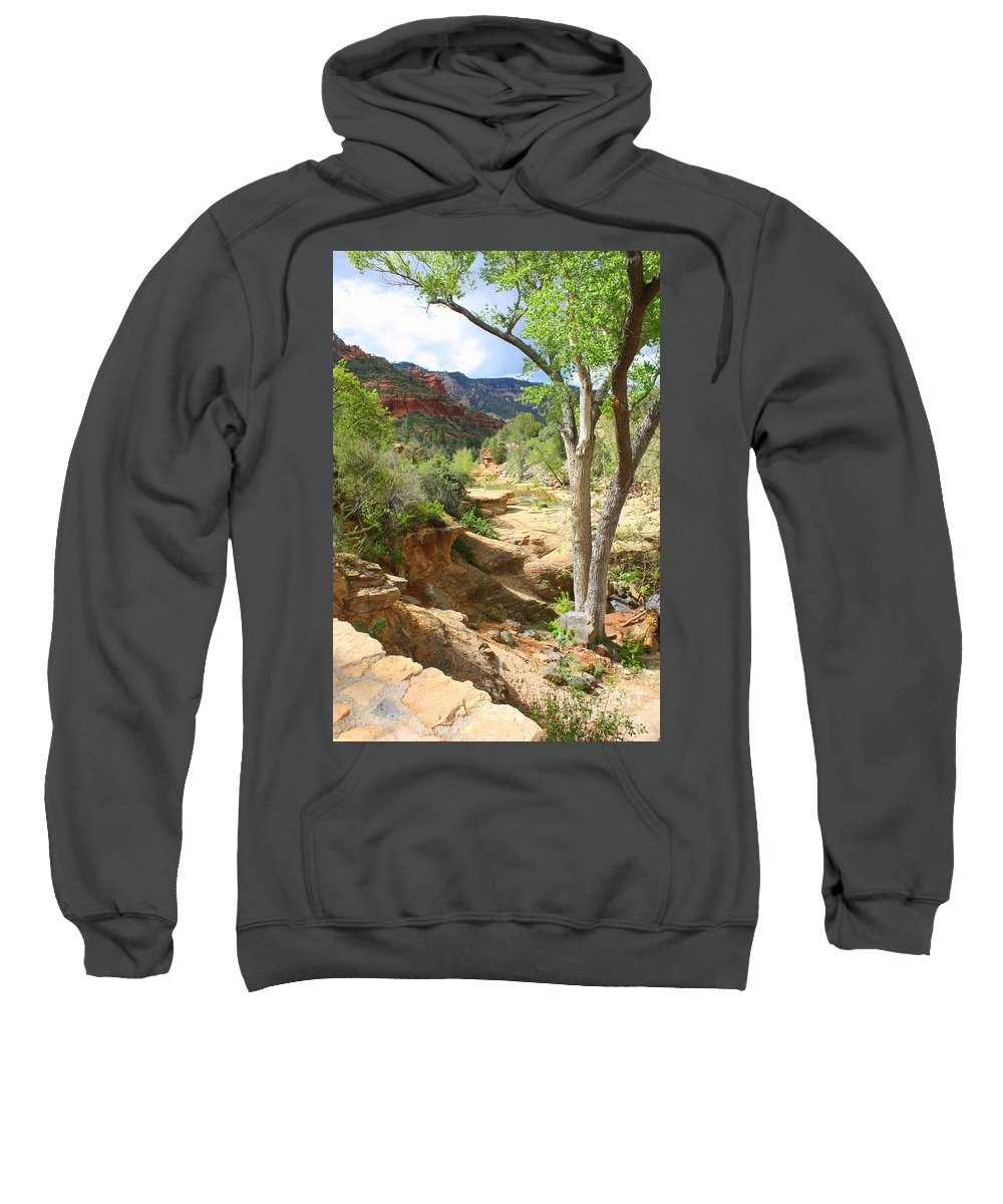 Landscapes Sweatshirt featuring the photograph Over Slide Rock by Carol Groenen