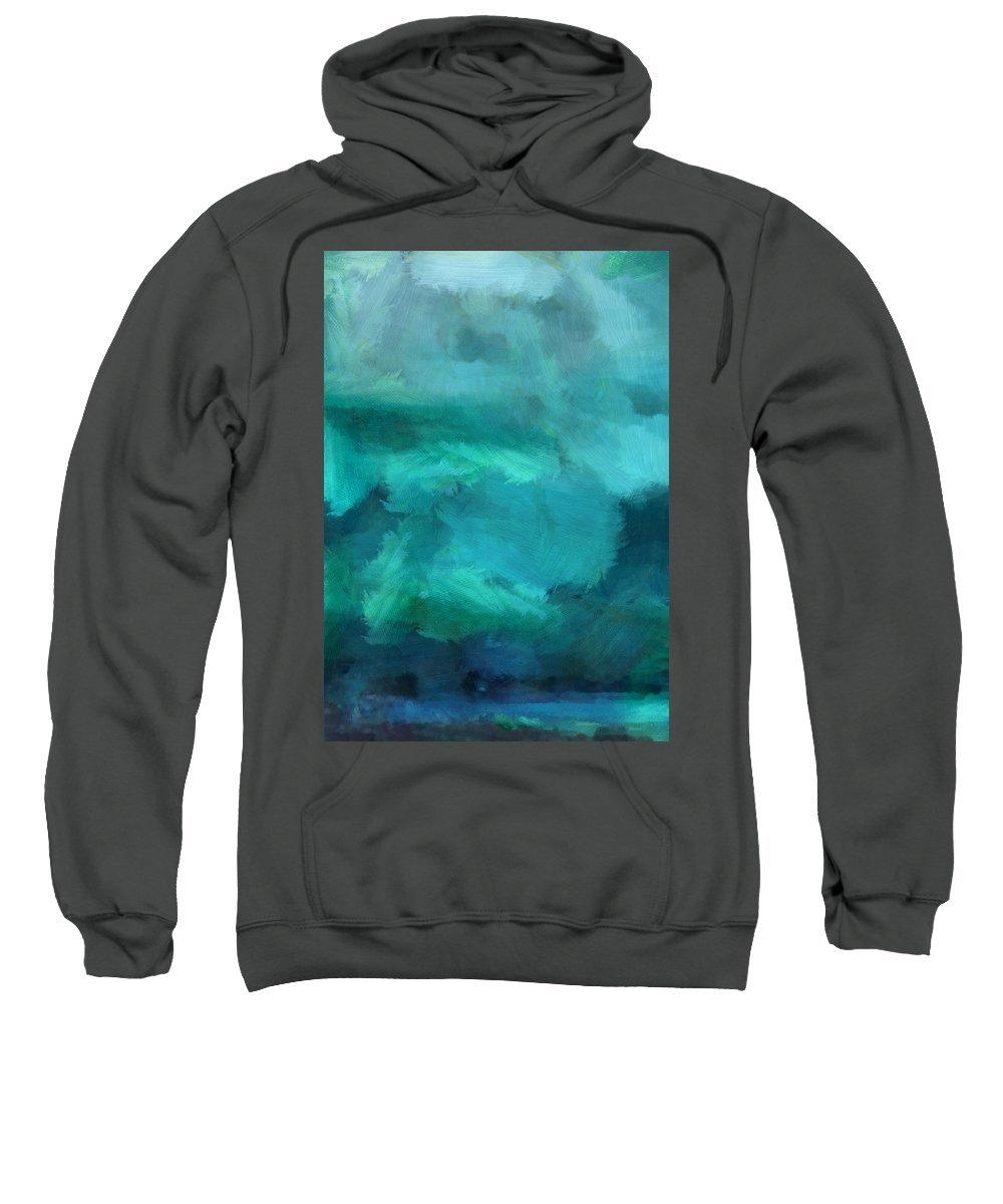 Ocean Sweatshirt featuring the mixed media Ocean 5 by Angelina Vick