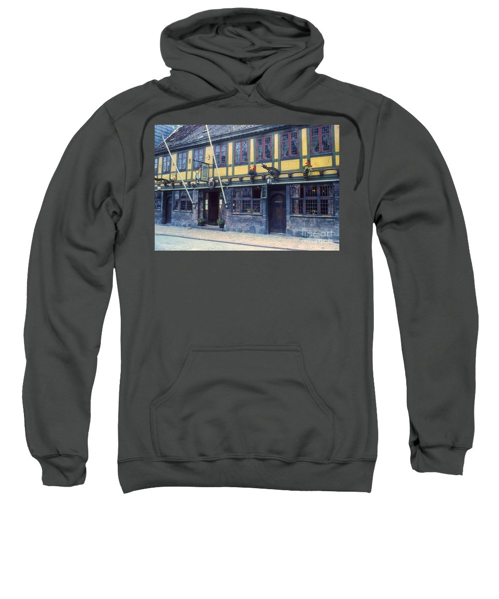 Restaurant Restaurants Eatery Eateries Structure Structures Building Buildings Architecture Odense Denmark Sweatshirt featuring the photograph Odense Restaurant by Bob Phillips