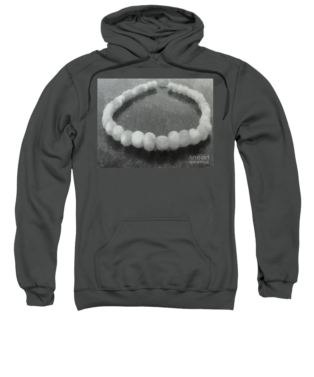 Necklace Sweatshirt featuring the painting Ohrid Pearls Necklace by Dragica Micki Fortuna