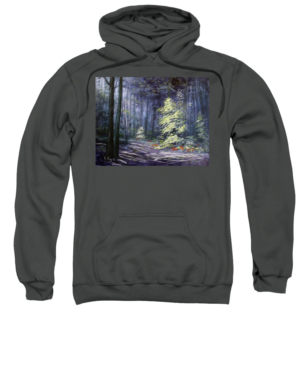 Roena King Sweatshirt featuring the painting Oil Painting - Forest Light by Roena King