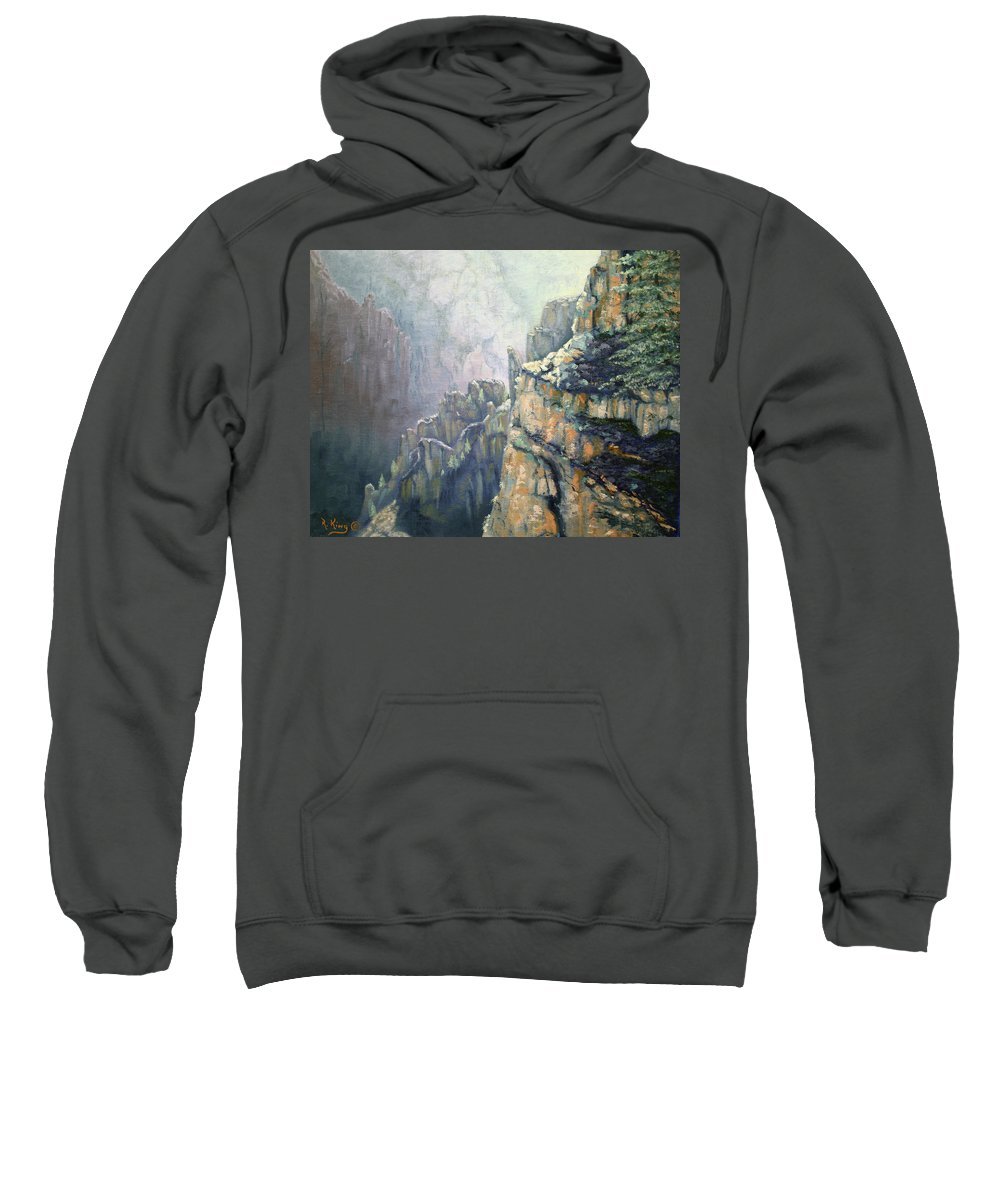 Roena King Sweatshirt featuring the painting Oil Painting - Majestic Canyon by Roena King