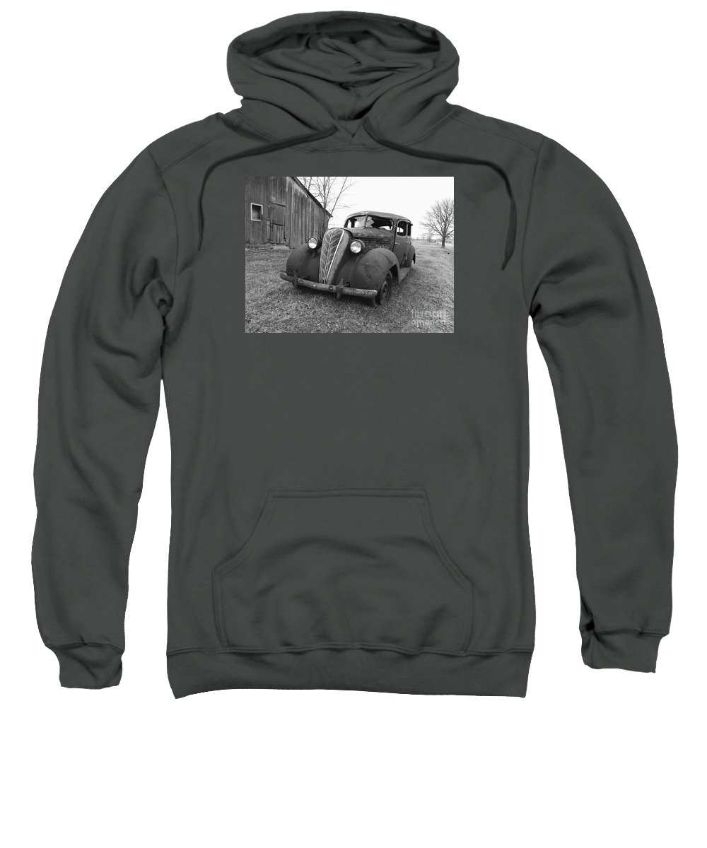 1936 Hudson Terraplane Sedan Sweatshirt featuring the photograph Old And Forgotten Black And White by Judy Whitton