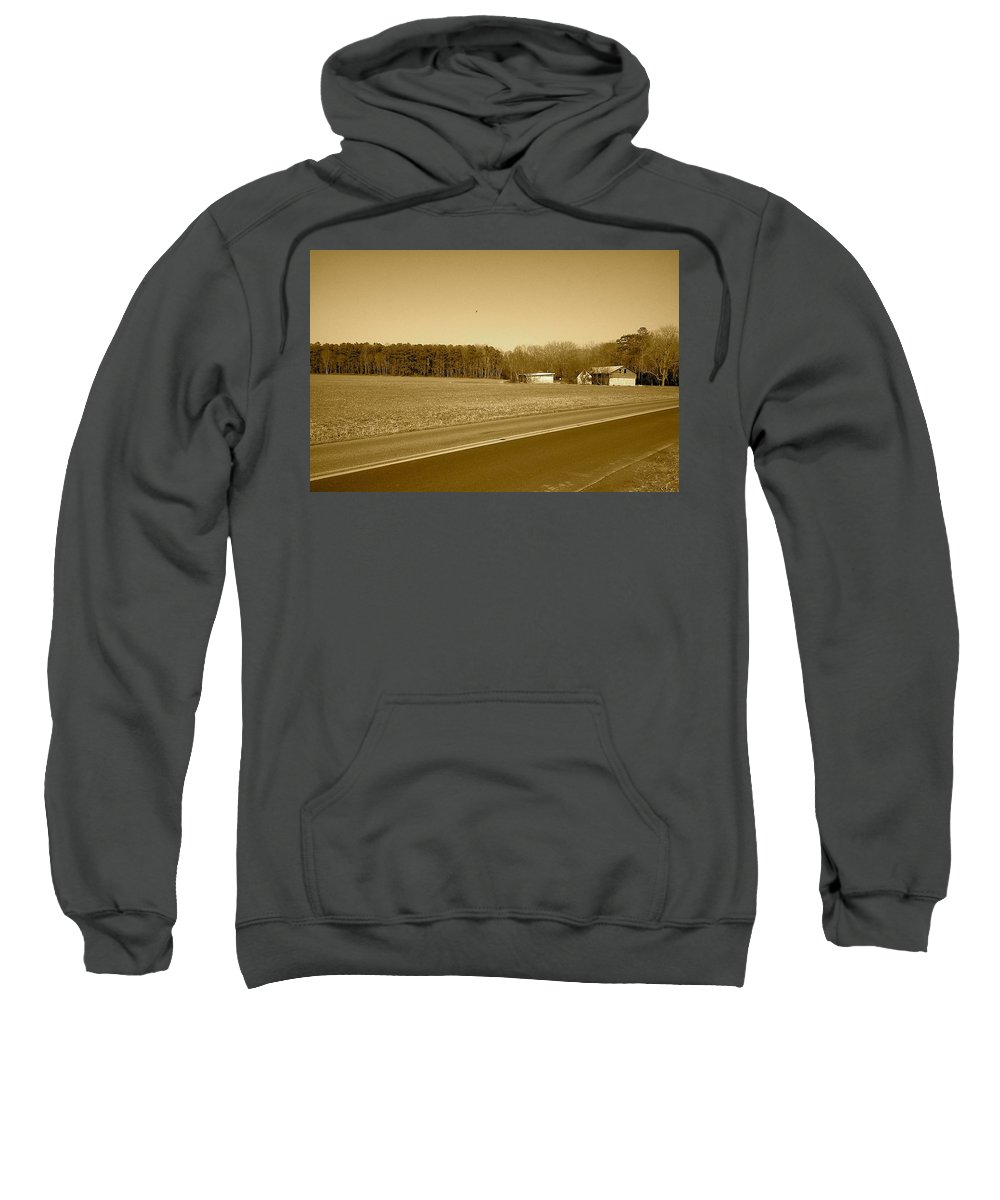 Barn Sweatshirt featuring the photograph Old Barn And Farm Field In Sepia by Chris W Photography AKA Christian Wilson
